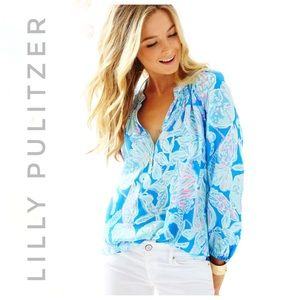 LILLY PULITZER Nwt Elsa top bay blue into the deep